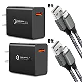 Quick Charge 3.0,USB Type-C Cable with Adaptive Fast Wall Charger Compatible for Samsung Galaxy S8 S8 Plus S9 S9 Plus,LG G6 G5 V30 V20, Google Pixel 2 Nexus 5X 6p