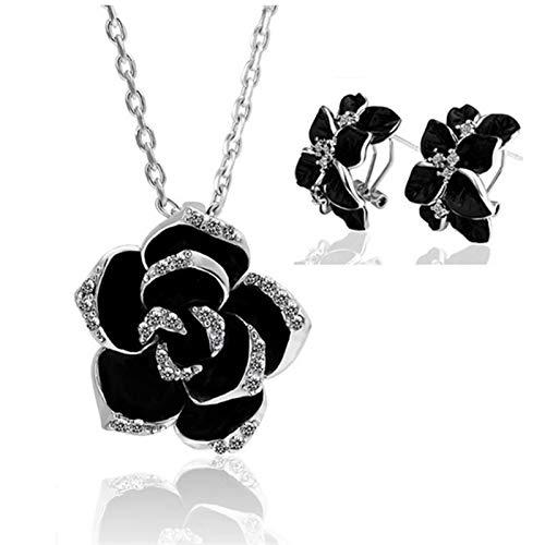 Set de joyería de esmalte de flor de rosa Mujeres Pintura de joyería nupcial (Metal color : Silver black 2)