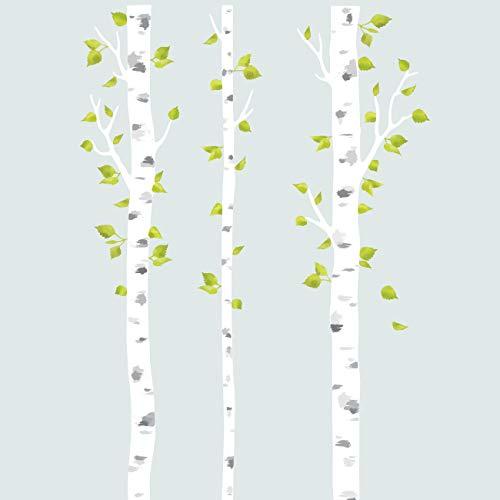 DECOWALL DLT-1714 Alberi di betulla bianca Tessuto Stickers murali Adesivi murali removibile riutilizzabile Peel and Stick Non tossico per bambini Asilo nido Camera da letto Soggiorno