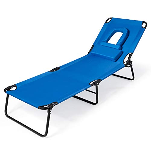 Goplus Folding Lounge Chair for Beach Poolside Balcony Patio, Portable Recliner w/Tanning Face Down Hole and Pillow (1)