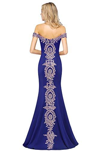 MisShow Damen Etui Abendkleid Applique Schulterfrei Ballkleider Festliches Meerjungfrau Abiballkleider Maxilang Royalblau 36