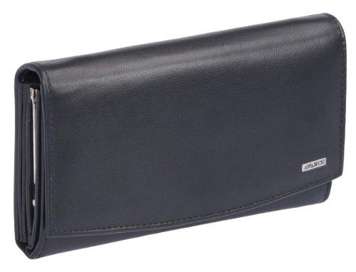 Damenknipsbörse AVANCO in Echt-Leder, schwarz, 18x11cm