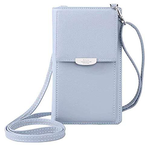 ZhengYue Frauen Brieftasche Cross-Body Tasche Leder Geldbörse Handy Mini-Tasche Kartenhalter Schulter Brieftasche Tasche Blau