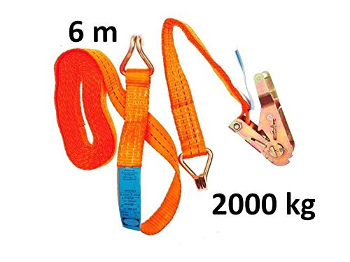 2 tlg Ratschenspanngurt mit Haken 6 m x 35 mm 2000 kg Orange - Spanngurt mit Ratsche orange