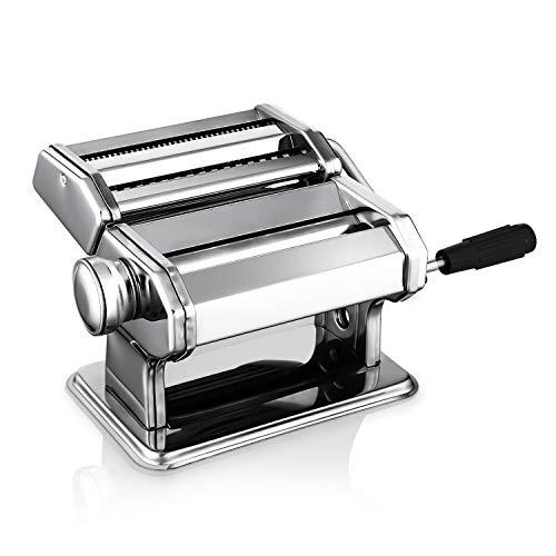 Nudelmaschine Pasta Maker Edelstahl Manuell Pastamaschine Einstellbar Nudel Walze Maschine mit Cutter für Frische Spaghetti Tagliatelle Fettuccine und Lasagne etc - 2 in 1 Küche Nudelmaschinen, Silber