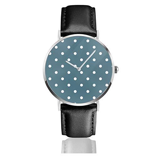 Reloj de cuero blanco y azul Magnolia Home azul marino blanco lunares y oro unisex clásico casual moda reloj de cuarzo reloj de acero inoxidable con correa de cuero