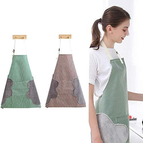 PrettyWit 2 Stück verstellbare Küchenschürze wasserdicht für Frauen Mädchen Kochen Wasserdichte Schürze mit Tasche und Händewischer Quilt, rot & grün Japanisch 1 x Grün, 1 x Kaffee.
