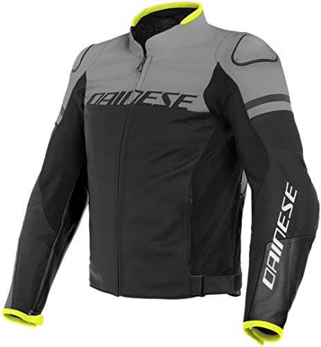 Dainese Agile - Chaqueta de piel para motocicleta, color negro y gris, talla 46
