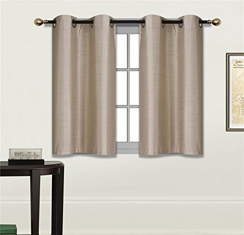 """Elegant Home 2 Panels Tiers Grommets Small Window Treatment Curtain Faux Silk Insulated Blackout Drape Short Panel 28"""" W X 36"""" L Each for Kitchen Bathroom or Any Small Window # D24 (Taupe)"""