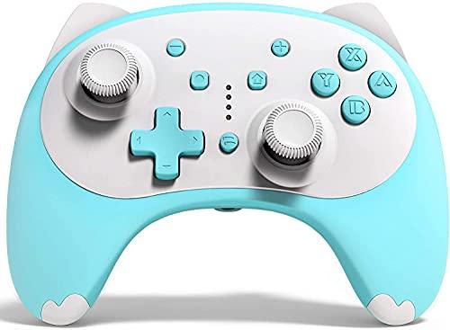 Mando para Nintendo Switch, KINGEAR Kawaii Gato Controller para Nintendo Switch Compatible con Switch/Switch Lite/PC, Mando Inalambrico para Juegos con 6 Ejes/Turbo/Control de movimiento
