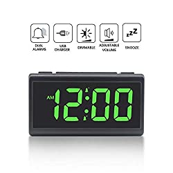 Compact LED Digital Alarm Clock with USB Charger Port, Dual Alarm, Snooze, Dimmable, Adjustable Alarm Volume, 12/24 Hour, Easy to Set Clocks for bedrooms (Green)