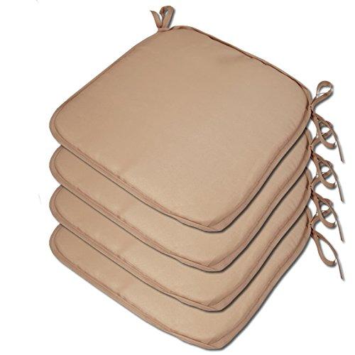 4 x Padded Seat Cushions - Plain Design 38x38x2cm - The Turin Range - Colour Light Brown