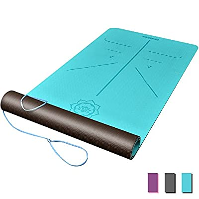 """DAWAY Eco Friendly TPE Yoga Mat - Y8 Wide Thick Workout Exercise Mat, Non Slip Grip Pilates Mats, Body Alignment System, Tear Resistant, with Carrying Strap, 72""""x 26"""" Thickness 6mm"""
