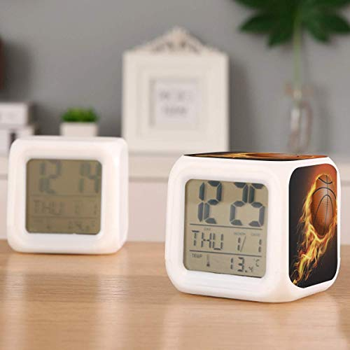 Flaming Basketball Arctic Fleece Electric Alarm Clock Night Light Nap Timer Sleep Sound Machine Temperature Detect with 7 Colors of Lights