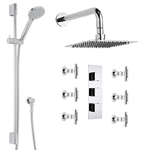 Best Bargain Milan Bathroom Shower Set with Square Rainfall Shower Head & Body Massage Jets