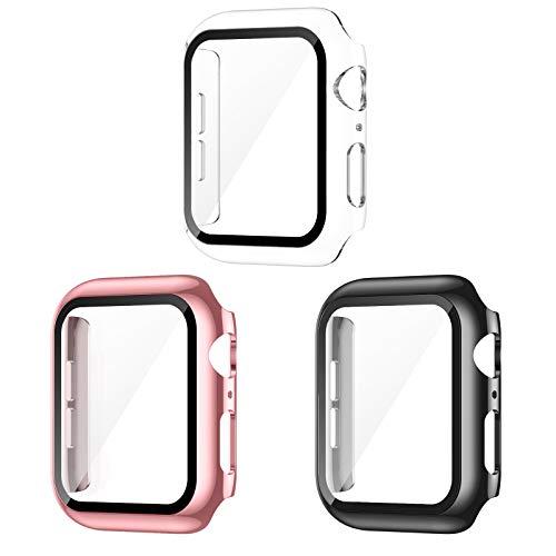 AVIDDA 3er Packung Apple Watch Schutzhülle,Hülle mit Bildschirmschutz aus Panzerglas für iWatch 38mm Serie 3/2/1,Vollabdeckung HD Superdünne Schutzfolie Kompatibel mit iWatch 38 mm