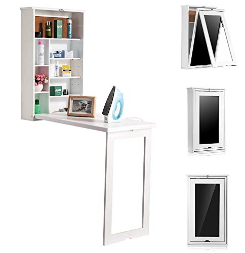 Wooden-Life Fold Out Convertible Wall Mount Desk - White …