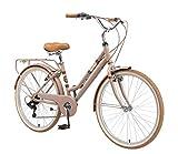 BIKESTAR Bicicleta de Paseo Aluminio Rueda de 26' Pulgadas | Bici de Cuidad Urbana 7 Velocidades Vintage para Mujeres | Marrón