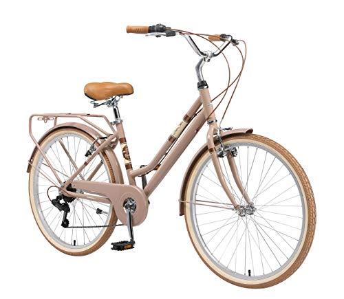 BIKESTAR City Stadt Fahrrad 26 Zoll | 16 Zoll Rahmen, 7 Gang Shimano Damen Rad, Hollandrad Retro Bike mit V-Bremse und Gepäckträger | Braun | Risikofrei Testen