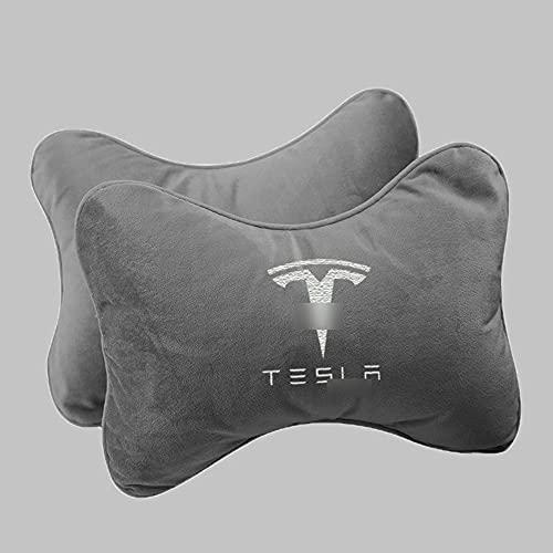 SXFYZCY 2X Asiento de Coche, reposacabezas, Almohada para el Cuello, Soporte Cervical para el Cuello, Accesorios de cojín de Espuma viscoelástica Lumbar para Tesla Model 3 S X