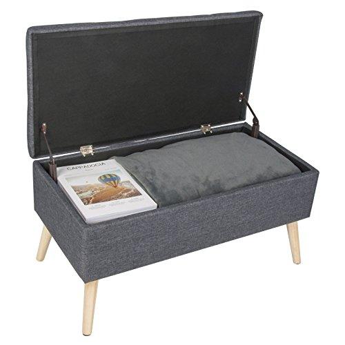 WOLTU Sitzbank Sitztruhen Aufbewahrungsbox, Polsterbank Pianobank Truhe, 79,5x39,5x40CM(BxTxH), Dunkelgrau, SH28dgr - 6
