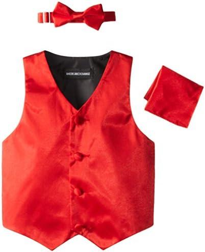 American Exchange Little Boys Toddler Satin 4 Piece Vest Set Red 4T product image