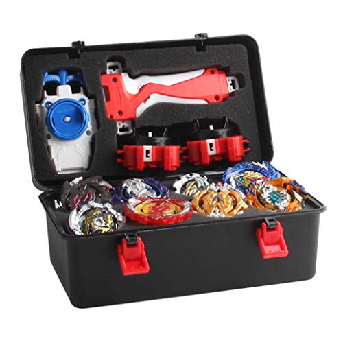 CUTICATE 12 Stück Kampfkreisel Set, 4D Fusion Modell Metall Masters Kreisel mit Launcher, Koffer und Zubehör für Kinder Spielzeug