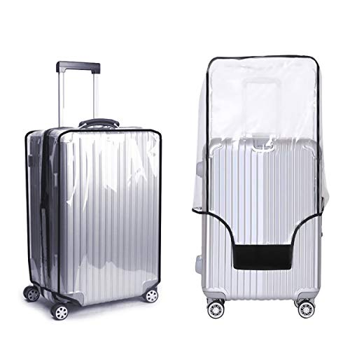 Clear PVC Suitcase Cover, BoloShine 20 22 24 Inch Waterproof Luggage Cover Suitcase Protector Cover, Scratchproof Trolley Case Cover for Travel Business Trip School Daily Using (24 Inch)