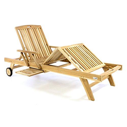 Divero Sonnenliege Garten Relax - Liege Teak - Holz inkl. Räder Tablett – Lehne & Fußteil mehrfach verstellbar – unbehandelt Natur behandelt (wählbar) (Teak Natur)