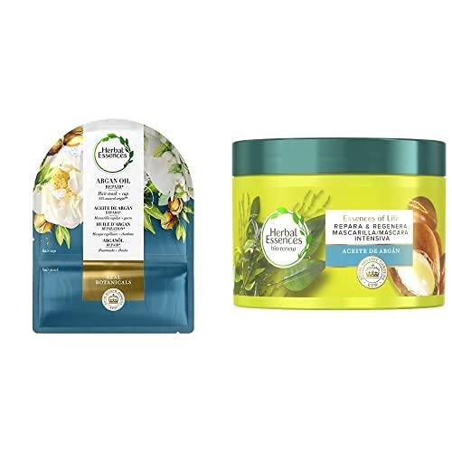 Herbal Essences Mascarilla Capilar y Gorro con Aceite de Argán Reparador + Mascarilla Reparadora de Aceite de Argán para pelo seco y dañado