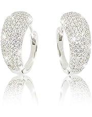 PAVEL´S dam Creolen SHINE av äkta silver 925 glänsande örhängen med zirkon hög kvalitet i AAAAA kvalitet brud bröllopssmycke i en smyckesask med äkthetscertifikat