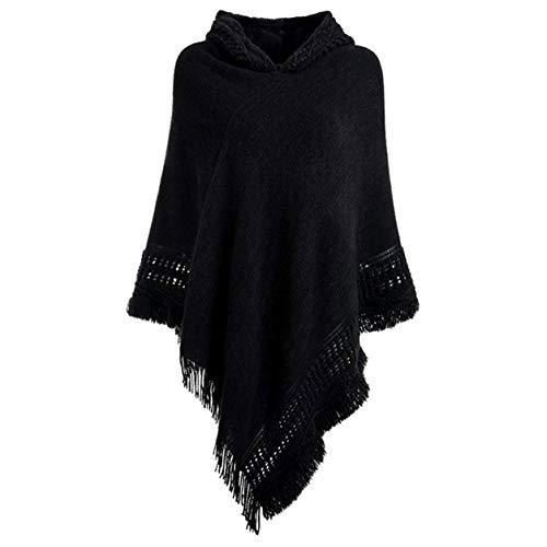 FXYY vrouwen elegante gebreide capuchon poncho, gehaakte poncho's breien patronen poncho trui sjaals capes met franje hem, voor de lente, vallen
