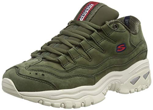Skechers Energy, Sneaker Donna, Olive Nubuck/Red & White Trim Old, 5.5 EU