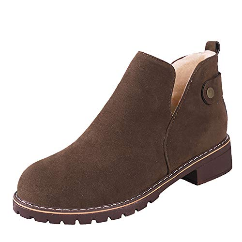 MYMYG Damen Ankle Boots Chelsea Boots Vintage Frauen Runde Kappe Schuhe Flache Booties Hasp Wildleder Volltonfarbe Stiefel Freizeitschuhe Winterstiefel