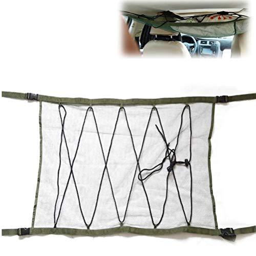 ZATOOTO SUV Ceiling Cargo Net Pocket - Car Roof Long Trip Storage Bag Tent Putting Quilt Children's Toy Towel Sundries Interior Accessories(ArmyGreen)
