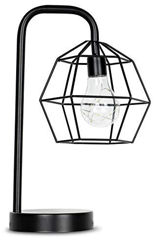 levandeo Tischlampe Metall Schwarz LED 33cm Hoch Lampe Standleuchte Leuchte Industrial Industrie Retro Loft Deko