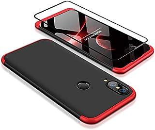 Joytag Funda Huawei P20 Lite 360 Grados Rojo Negro Ultra Delgado Todo Incluido Caja del teléfono de la protección 3 en 1 Huawei Nova 3e PC Case + Protectora de película de Vidrio Templado Rojo Negro