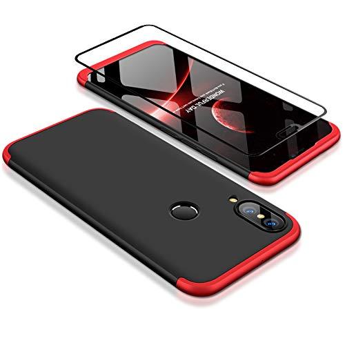 Coque pour Huawei P20 Lite Rouge Noir 360 degrés Très Mince Tout Inclus Protection 3 dans 1 boîtier Huawei Nova 3e PC téléphone Case Cover+Film de Verre trempé Gratuit par JOYTAG-Rouge Noir
