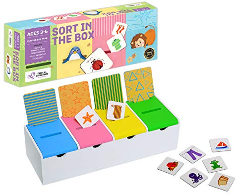 Chalk and Chuckles Sort in The Box - Fun Sorting and Matching Learning Activity for Pre-School Kids - Educational Brain Games Ages 3 to 6 Years Old