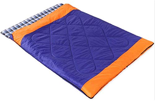 OutDo Frühling und Sommer-Outdoor-Camping-Doppel Adult Outdoor-Camping-Warm Baumwolle Schlafsack for 150-180cm Höhe (Color : Blue)