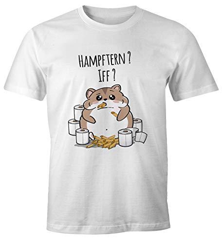 MoonWorks® Herren T-Shirt Spruch Motiv Corona-Virus 2020 Hamsterkäufe Klopapier Nudeln Fun-Shirt Spruch lustig weiß XXL