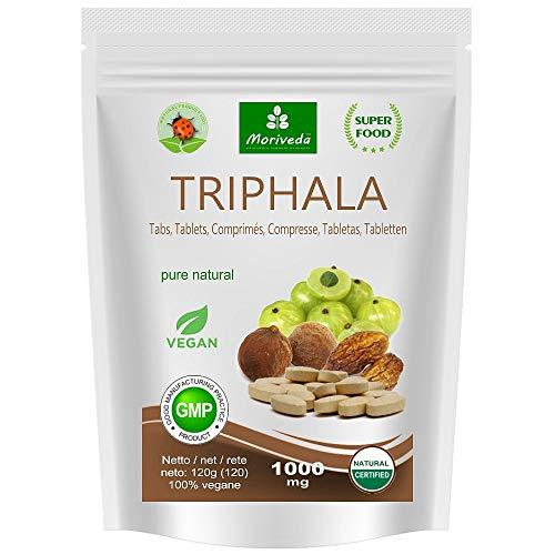 MoriVeda® - Triphala Presslinge 1000mg (120 oder 360 Stk.) aus Ayurveda Königsfrüchten Amla, Hiritaki und Bibhitaki – naturreines Qualitätsprodukt (1x120 Tabs)