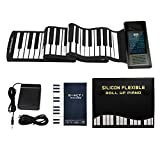 ロールピアノ 88鍵盤 電子ピアノ 音符シール付き Bluetooth機能 128音色 128リズム 14デモ曲 USB充電式 スピーカー内蔵 midiキーボード 楽器 初心者 練習用