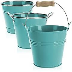 Idea Regalo - com-four® 3X vasi da Fiori in Metallo - Mini vasi da Fiori in Metallo - vasi da Fiori Colorati - Vaso per Erbe da posizionare e Appendere - Ø 14 x 12,5 cm (03 Pezzi - Blu)