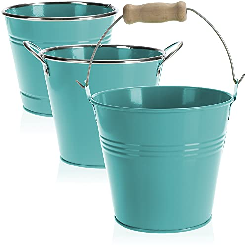 com-four® 3X vasi da Fiori in Metallo - Mini vasi da Fiori in Metallo - vasi da Fiori Colorati - Vaso per Erbe da posizionare e Appendere - Ø 14 x 12,5 cm (03 Pezzi - Blu)