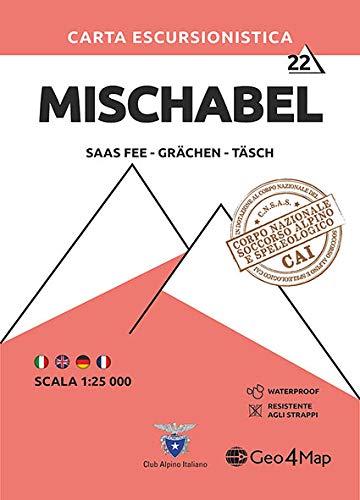 Carta escursionistica Alpi del Mischabel (Saas Fee Grächen): Saas Fee - Grächen - Täsch / Waterproof / Resistente: 22