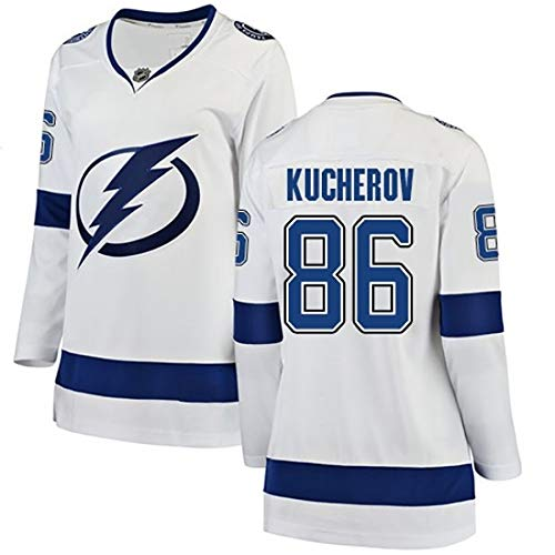 DSASAD Herren-Eishockey Trainings-Uniform, Blitz HEDMAN77 KUCHEROV86 STAMKOS91 gestickte Fan Jersey, 100% Polyester-Faser, kann wiederholt gewaschen Werden, die erste Wahl White86-XL
