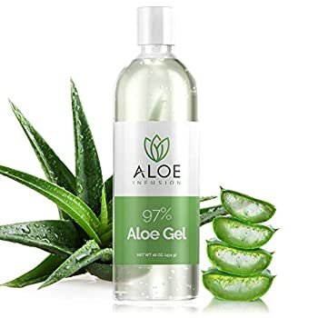 Aloe Infusion Organic Aloe Vera Gel - Deeply Hydrating Skin Nourishing After Sun Skin Care for Face Body and Hair - Sunburn Redness and Itchy Skin Relief - Made in the USA - 16 Oz