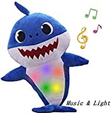 YANGYANG Children's Soft Toy Shark Baby,Plush Shark Toy with Music and Night Lights Singing, is The Best Gift for Boys and Girls(Blue)