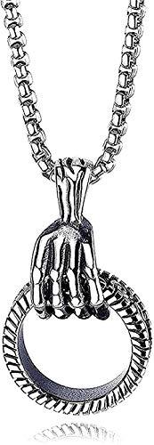 ZGYFJCH Co.,ltd Collar Punk Collar Colgante Collar para Hombres Mujeres Esqueleto Cráneo Mano Poder Redondo Mantra Hip Hop Accesorios Cadena Colgante Collar para Mujeres Hombres